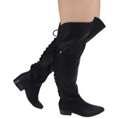 Bota Feminina Over The Knee Cravo e Canela Preta