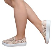 Tênis Feminino Casual Slip On Bottero Nude e Animal Print