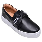 Tênis Feminino Casual Slip On Off Line Preto